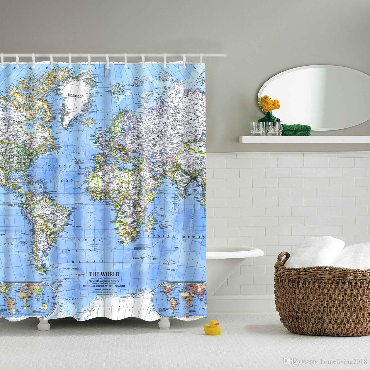 Fabric Shower Curtain Maps Decorations For Bathroom Print Vintage Rustic Theme Decor Home Antiqued With Curtain Rings Hooks