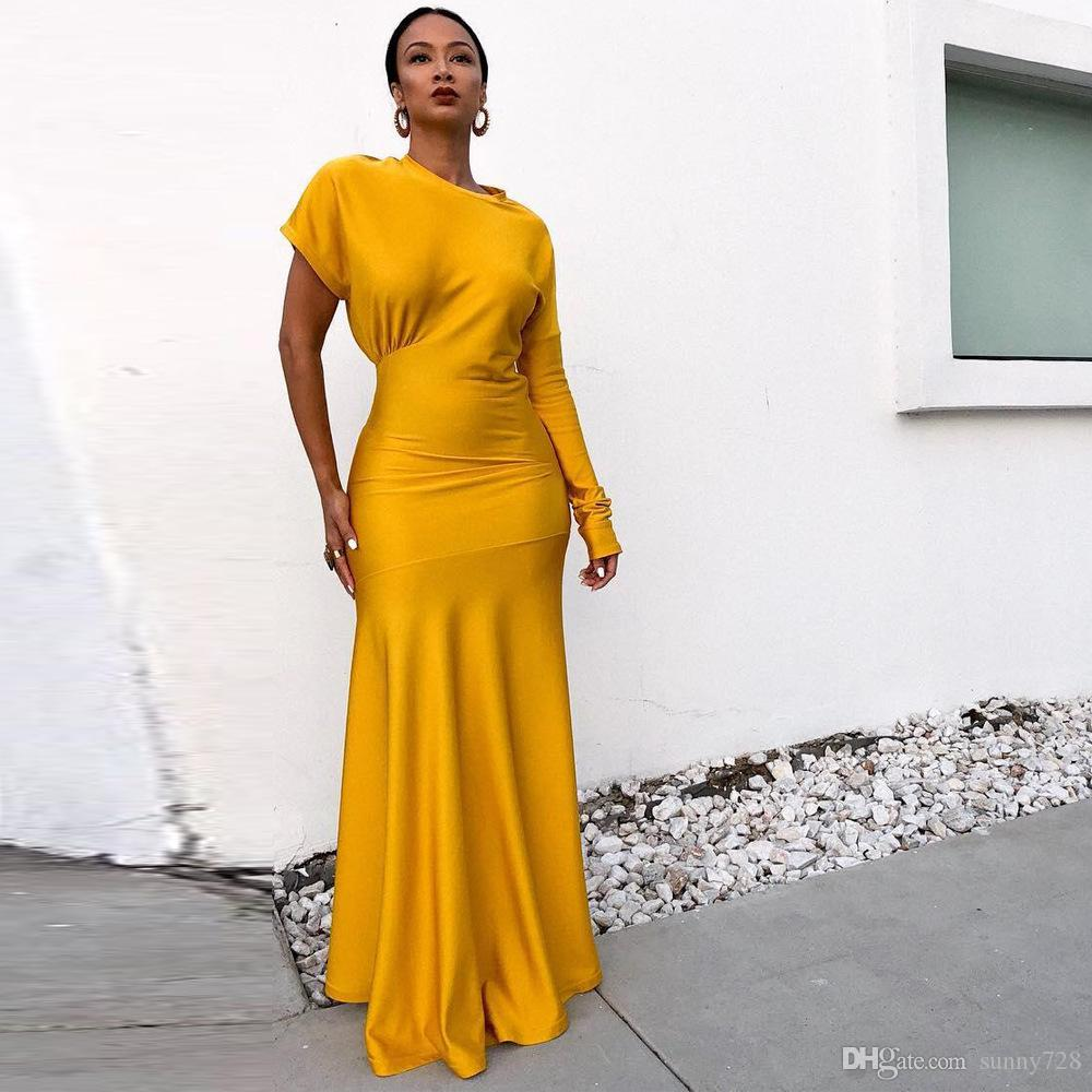 2019 Yellow Long Mermaid Women Evening Dresses One Long Sleeves Crew Neck  Pleat Floor Length Elegant Party Dress In Stock Elegant Evening Dress  Mermaid ... d814e95bf4ee