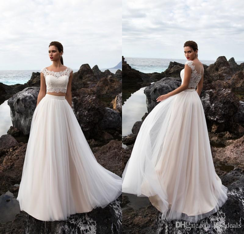 eb6527942d1f78 Discount Two Pieces Wedding Dresses With Lace Crop Top Tulle Skirt Spring  Summer Country Wedding Gowns Custom Made Bridal Dresses Princess Line  Wedding ...