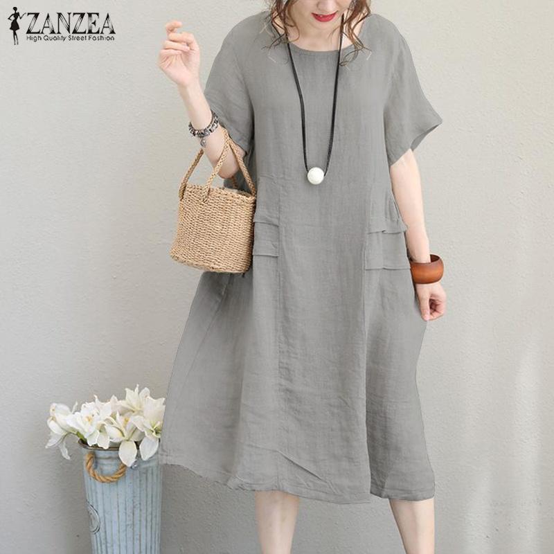58d80a520c96 Vestido de lino de Kaftan Vestido de verano de las mujeres Vestidos de  verano 2019 ZANZEA Bata de manga corta para mujer Vestido holgado a media  ...