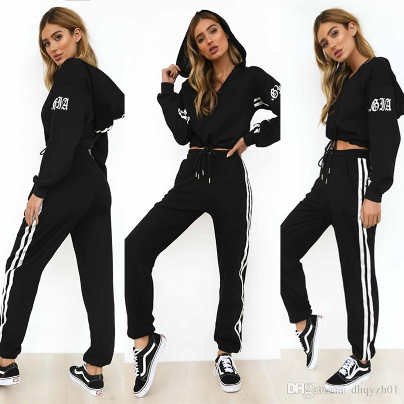 Fashion Ladies Long Sleeve Hoodies Pants Sets Designer Brand Tracksuit Spring Sports Women Clothing Running Sweatshirts Jumper Trousers Suit