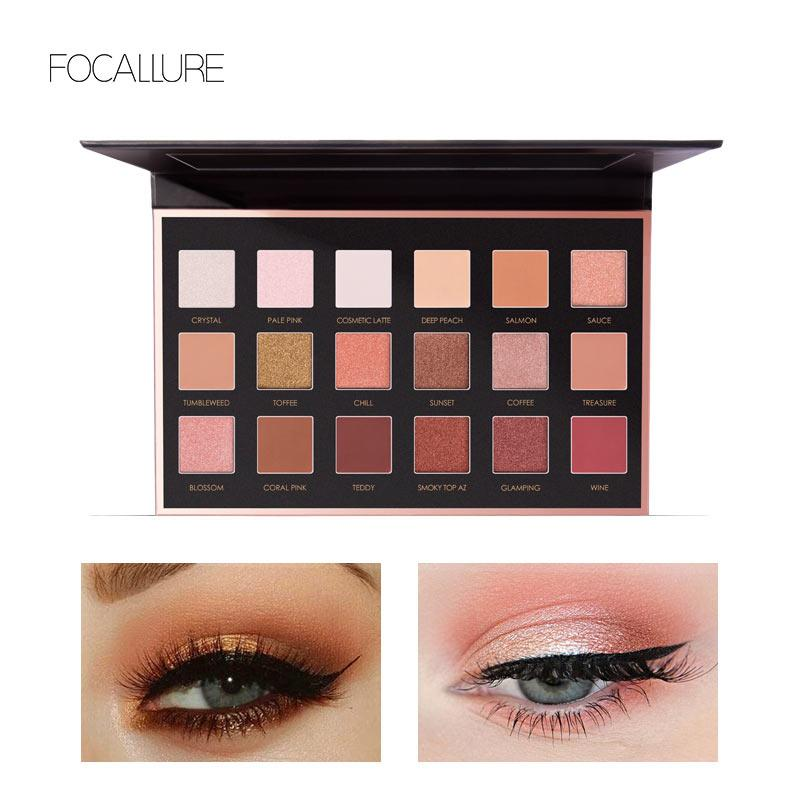 Beauty Essentials Eye Shadow Focallure 18 Colors Eyeshadow Pallete Easy To Wear Glitter Eye Makeup Long-lasting Matte Eye Shadow Cosmetic