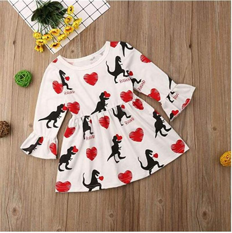a898e4cb645b 2019 2019 Baby Girls Flare Sleeve Dress Children Love Heart Dinosaur Print  Skirt Valentine'S Day Princess One Piece Dresses Kids Cartoon Dress From ...