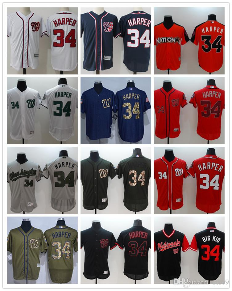 2a1a7ad0a1c 2019 Custom Men S Women Youth Washington Nationals Jersey  34 Bryce Harper  Home Red White Grey Baseball Jerseys From Ccr09