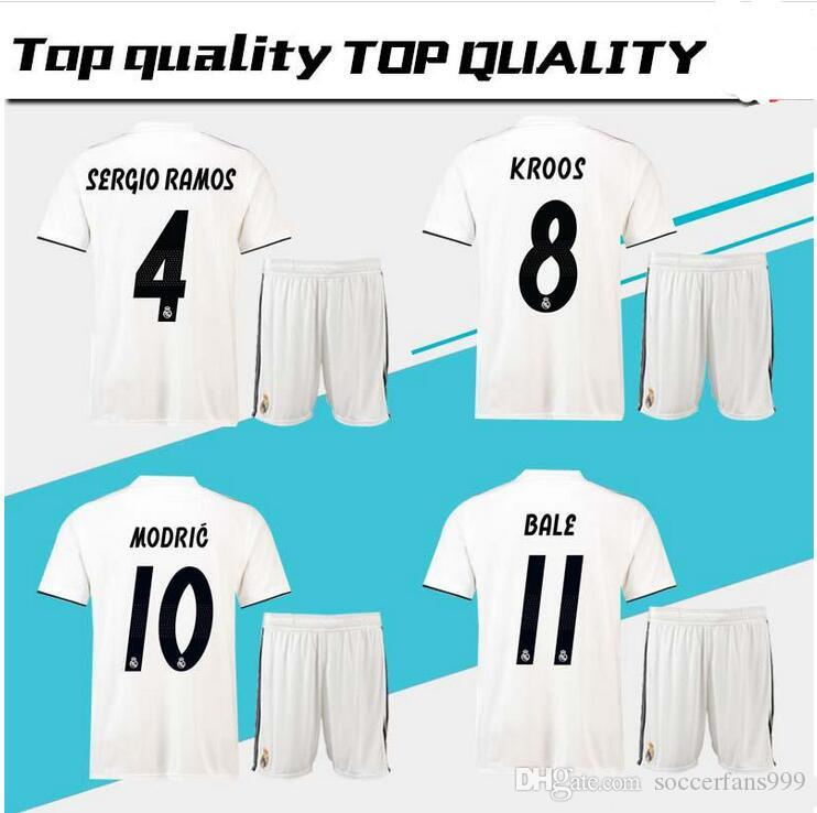 d06db6c61 Real Madrid Home Away Soccer Jersey Men Kits 2018 2019 Campeones ...