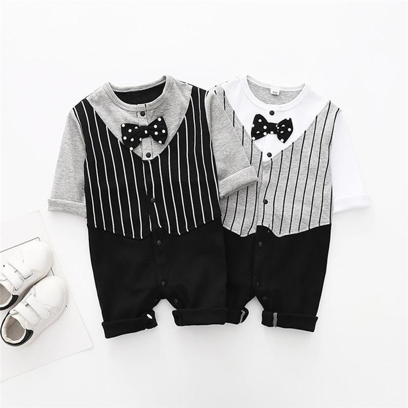 2fa7d7763bf 2019 2019 New Babys Boys Clothes Toddler Infant Baby Boy Striped Long  Sleeve Bowtie Jumpsuit Romper Clothes Baby Boys Romper JY24 F From  Usefully11