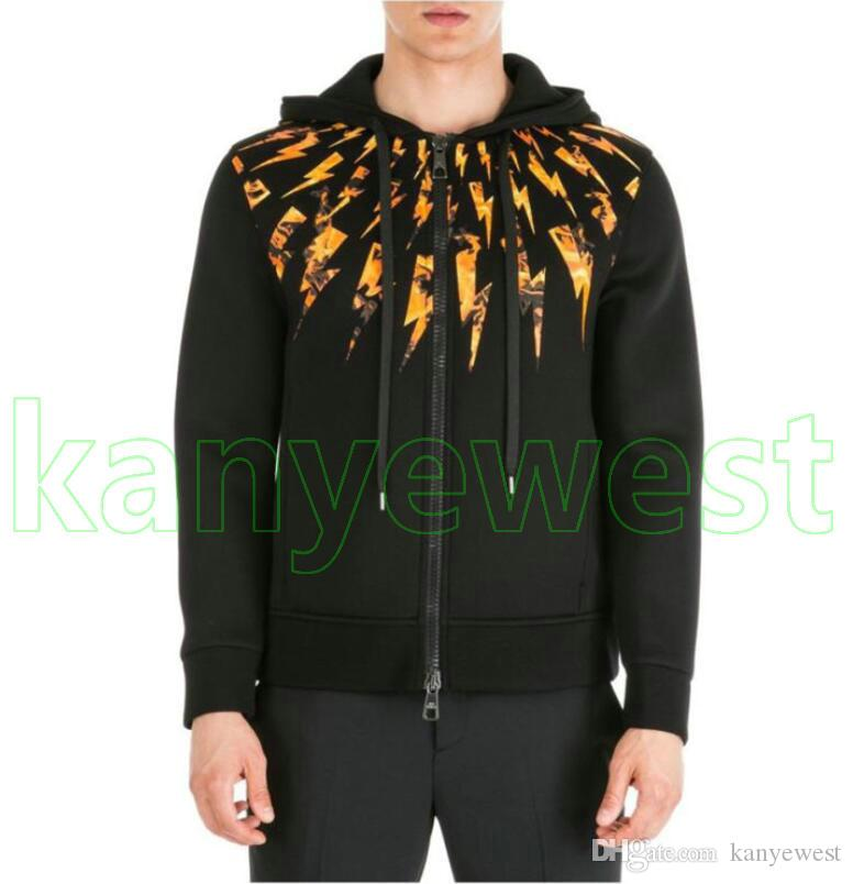 2019 new Europe Luxury mens Flame lightning printing hoodies Fashion sweatshirt Men Clothe Hoodies top quality Designer Pullover Sweatshirt