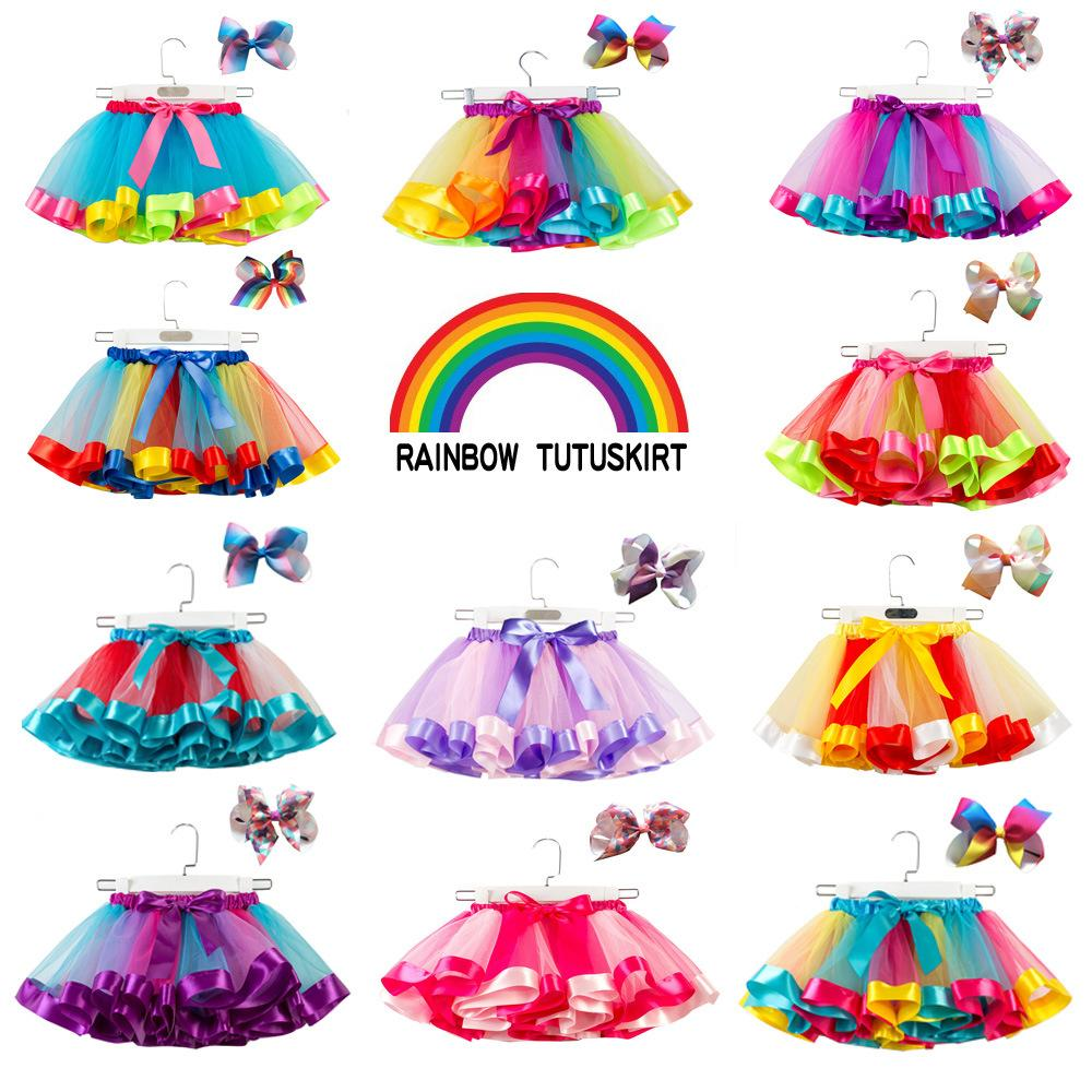 European and American mesh rainbow pettiskirt children tutu half-length princess skirt send bow headdress girl baby dress