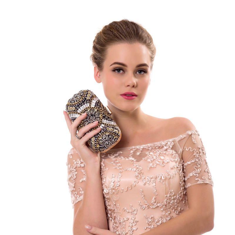 SEKUSA Vintage Wedding Handbags Beaded Diamonds Chain Shoulder Day Clutch Handmade Style Pearl Evening Clutch Bag