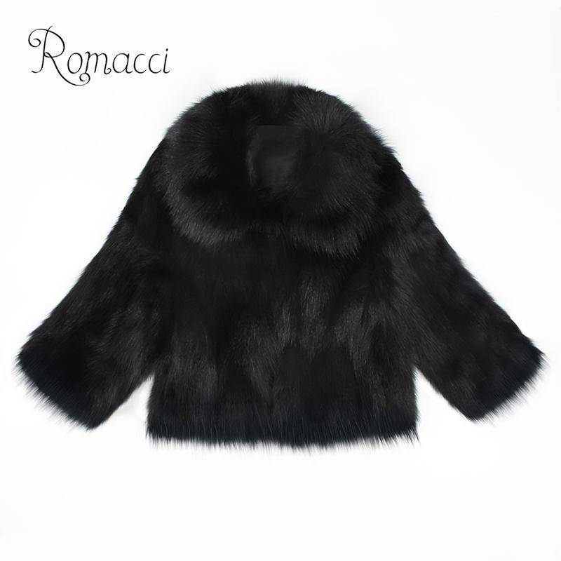 bd48d25743 Romacci Women Faux Fur Coat Shaggy Fluffy Pure Color 3 4 Sleeve ...