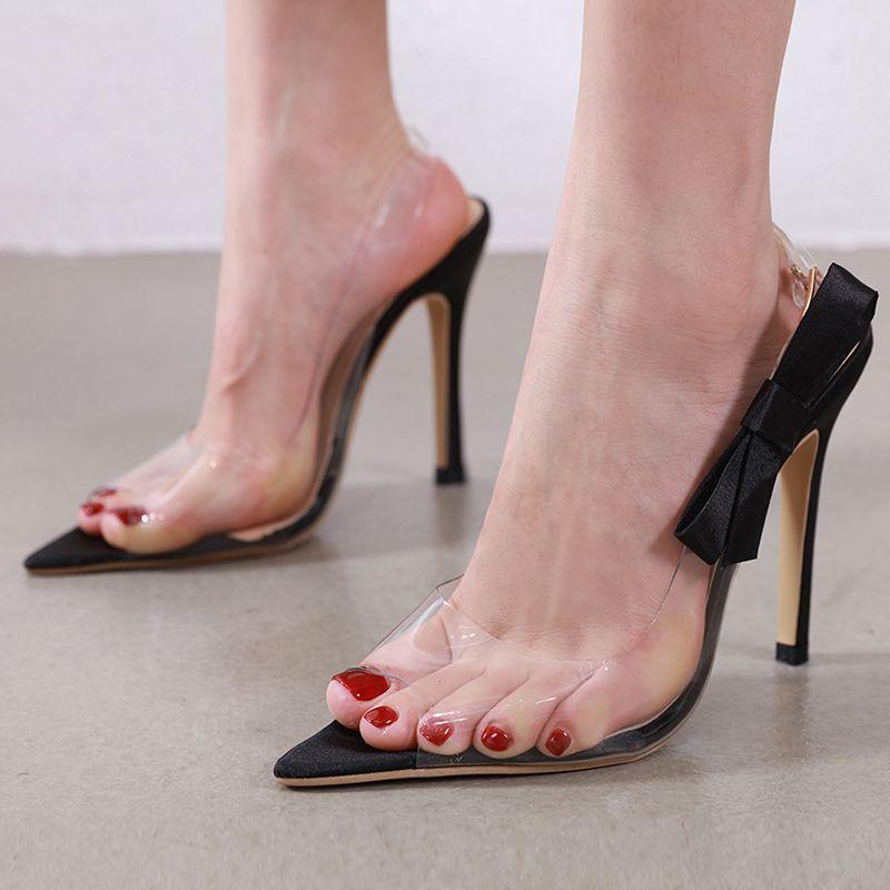Artı boyutu 35 ila 40 41 42 papyon pvc temizle şeffaf sivri burun pompaları ayakkabı kadınlar lüks tasarımcı topuklu
