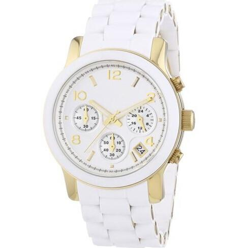 85dc6bc80869 Brand High Quality MK5145 Mk5145 Women S Watch Quartz Chronograph White  Tone Silicone Band Watches Sports Watches Designer Watches From Doudoutoys