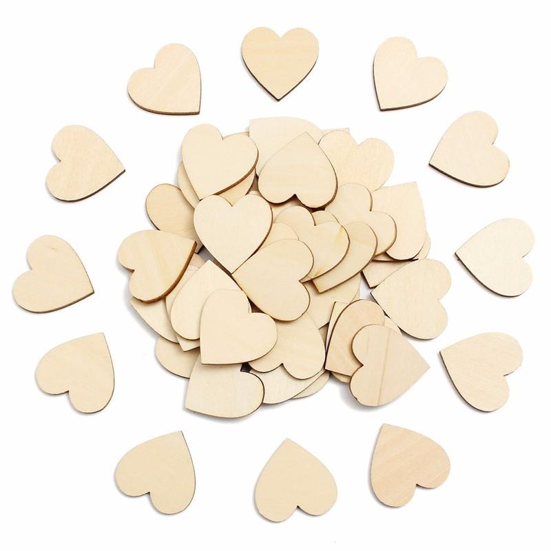 New Hot Sale 50Pcs Wooden Hearts Wood Embellishments Cutout Craft for Rustic Sticker Love DIY Wedding Home Party Decor Cute Gift