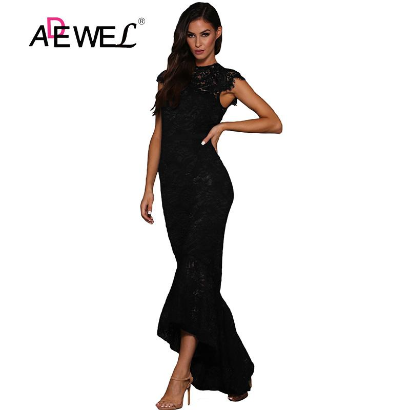 4eb31727977 SEBOWEL Sexy Black Hollow Out Lace Mermaid Party Long Dress Women Elegant  Sleeveless Lace Evening Gown Bodycon Maxi Dresses Red Carpet Dresses Black  Prom ...