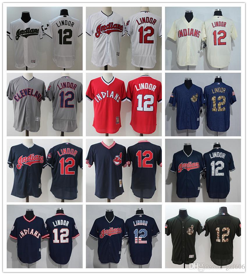 0ab53576663 2019 Custom Men S Women Youth Majestic Cleveland Indians Jersey  12 Lindor  Black Grey White Baseball Jerseys From Gzf606