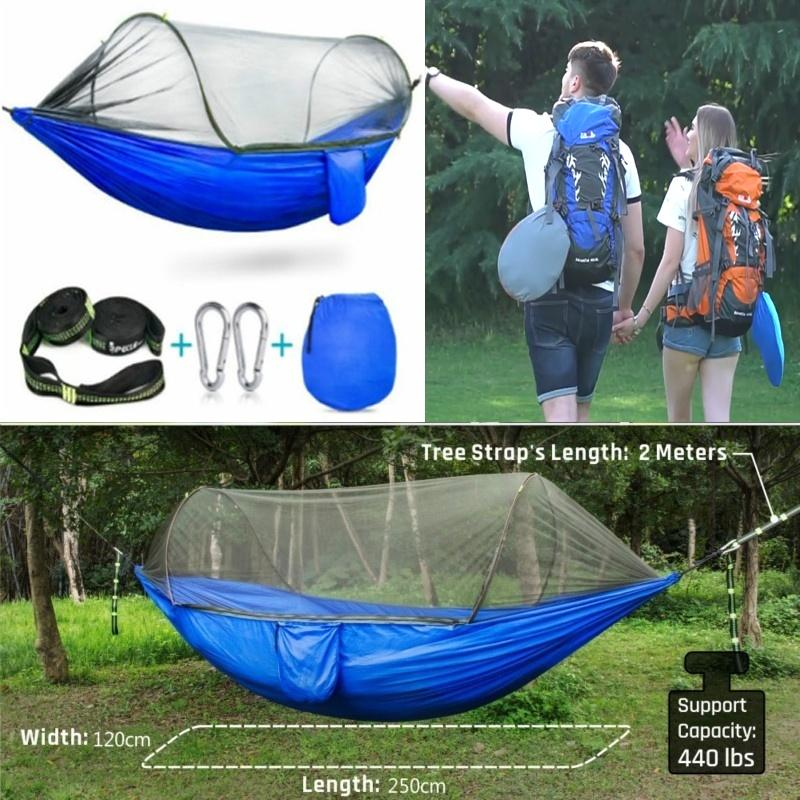 2019 Multiuse Portable Hammock Camping Hiking Travel Hammock With Mosquito  Net Stuff Sack Unnel Shape Swings Bed Tent Use Outdoor250*120CM From  Hzr1314, ...