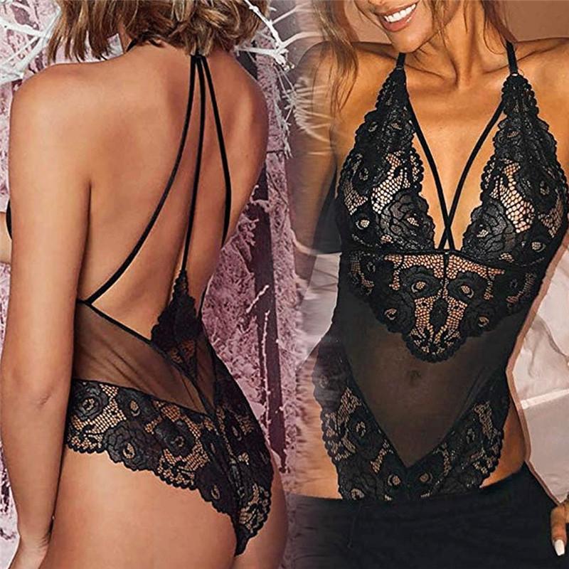 Hirigin 2019 جديد إمرأة مثير ملابس غريبة Babydolls أكمام عارية الذراعين حمالة الدانتيل الأسود بيبي دول G- سلسلة ملابس داخلية نوم