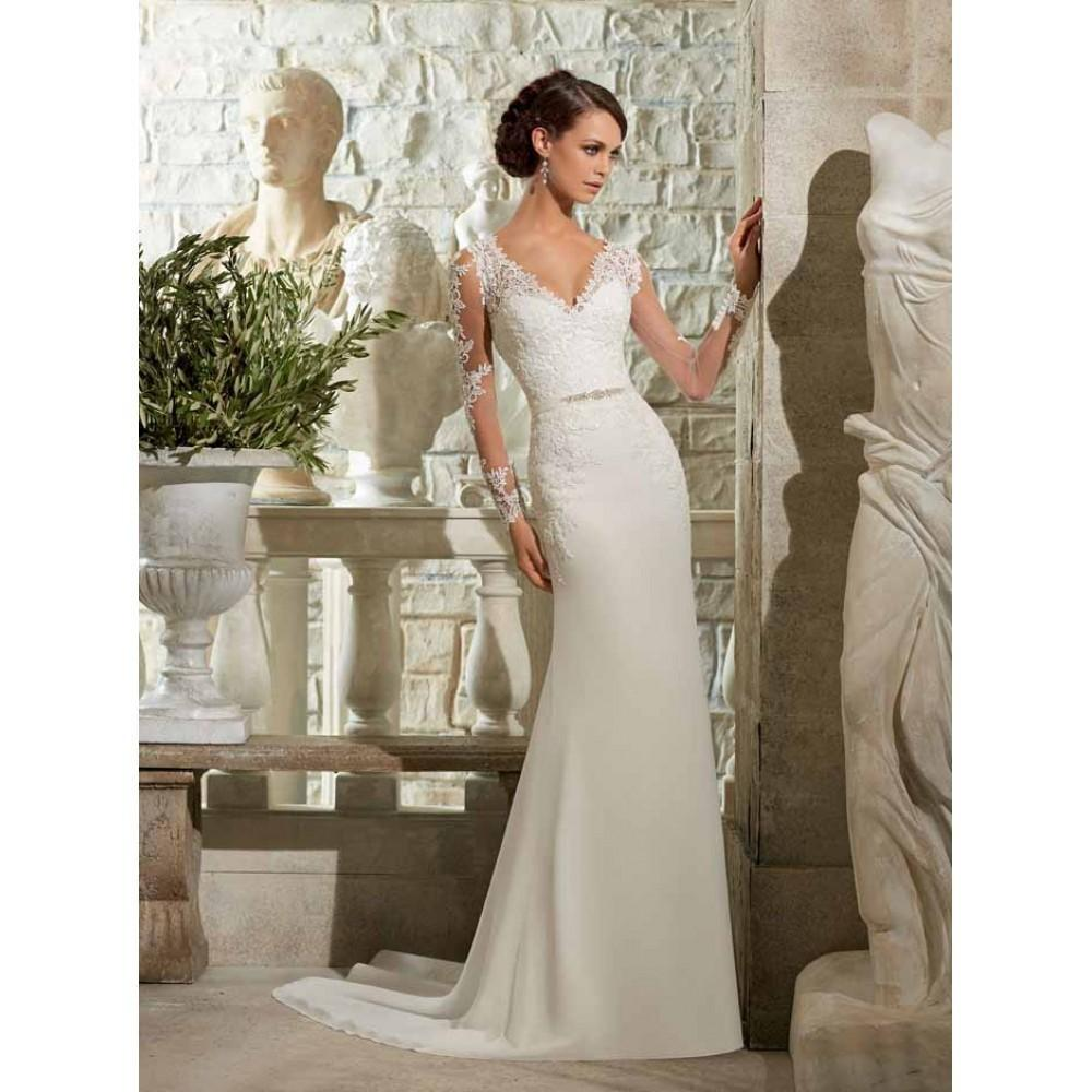 vivian\'s bridal 2018 deep-v neck long sleeve mermaid dress