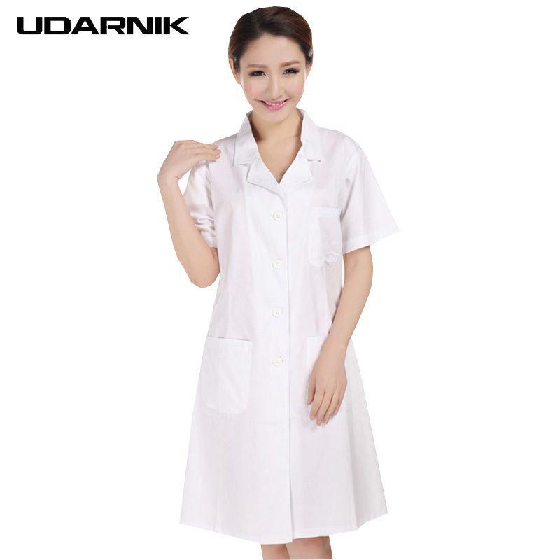 a1499403a2 Compre Dama Blanca De Manga Corta Bata De Laboratorio De Algodón Doctores  Científico Mujer Enfermera Uniforme Vestido De Traje Ropa Médica 903 227  C18122701 ...