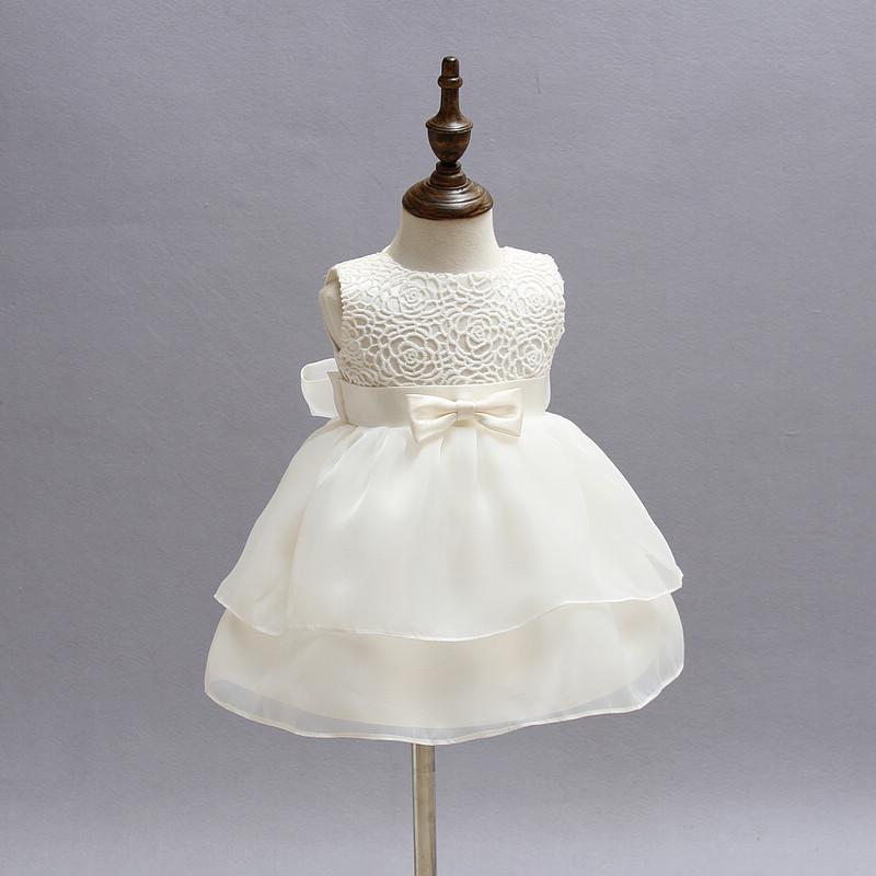White Baby Girl Pageant Wedding Dress Kids Party Vestido Clothes Elegant Tutu Baby Girl 1 Year Birthday Dress Little Girl Frocks MX190719