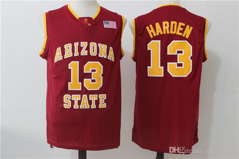 the best attitude f72c7 cfef3 NCAA 13 Harden College Jerseys Arizona State Sun Devils Jersey Men  Basketball Team Red Away Yellow White For Sport Fans Free Shipping