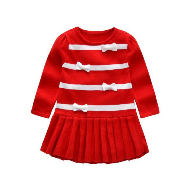 c5621d580ab3e Kids Dress Children Girls Autumn Spring Bowknot Sweater Dresses Girl  Princess Long Sleeve Knitted Dresses Red/black Color 5 Pcs/Lot B