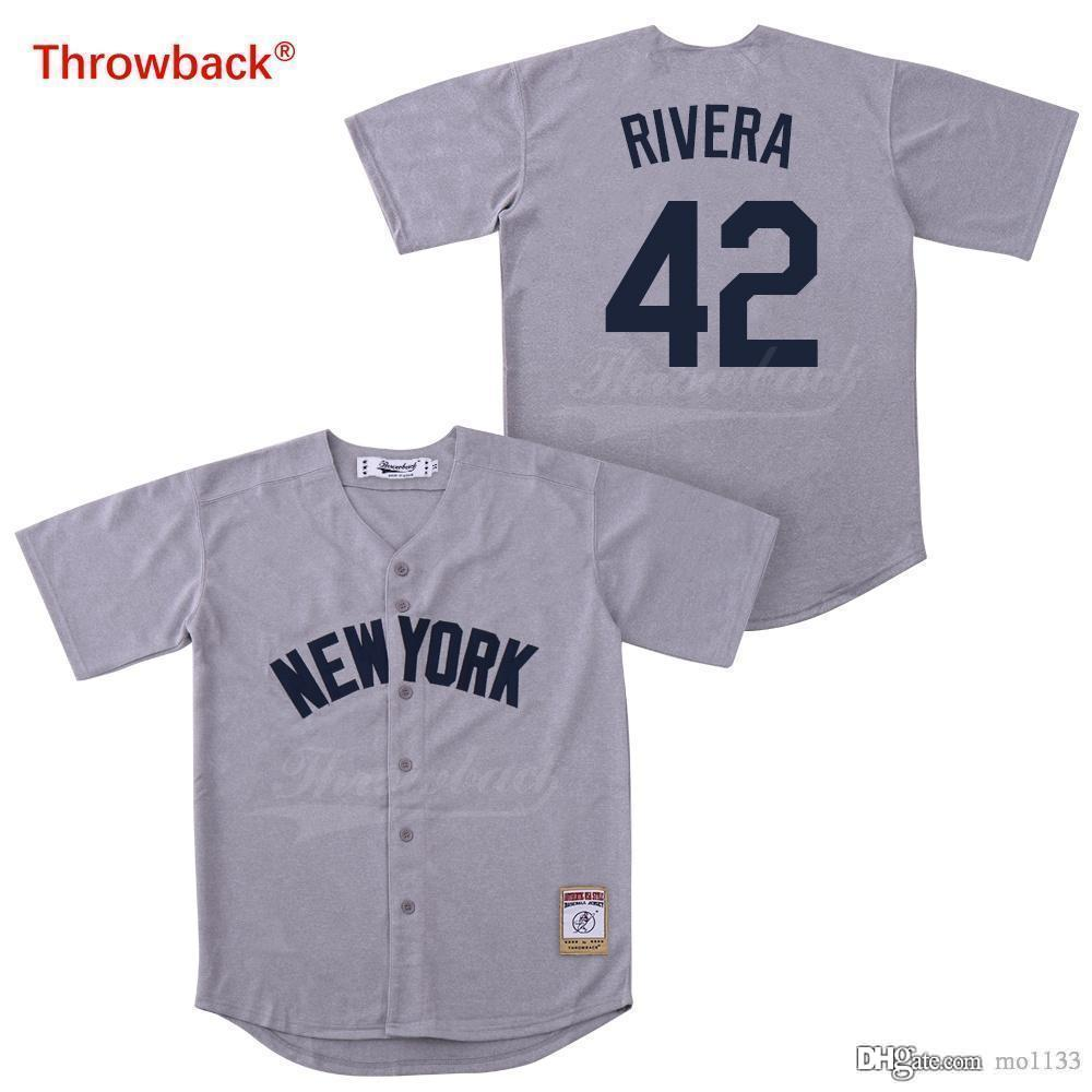 cheaper c5f84 c774d Throwback Jersey Men's Baseball Jerseys New York Jersey Rivera Gray Shirt  Stiched Wholesale Cheap Qualit