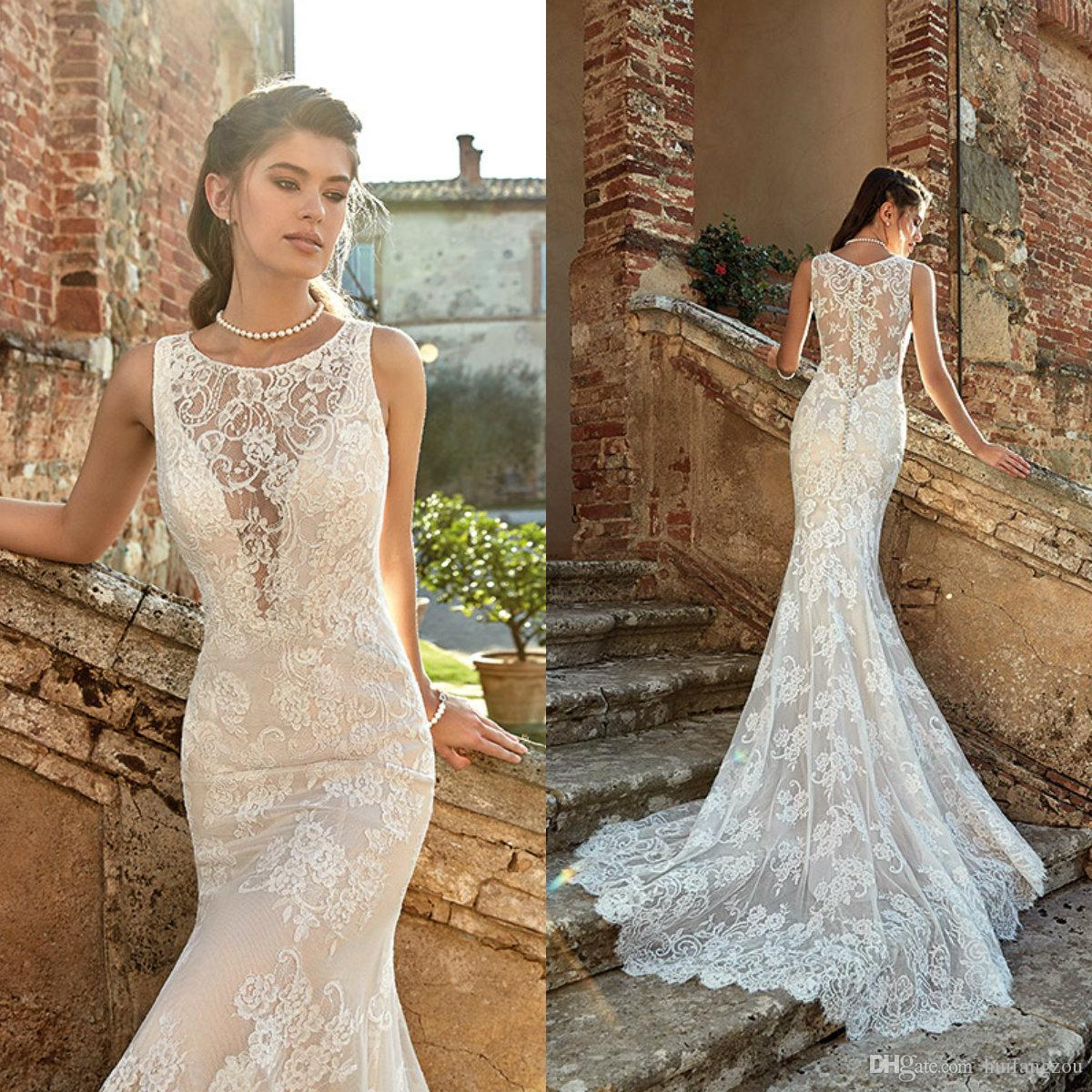 Eddy K Mermaid Wedding Dresses 2019 Sweep Train Lace