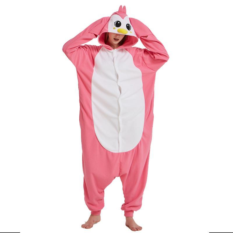 fd33fbd99a Compre Nuevo Pink Penguin Onesie Para Adultos Pijamas Kigurumi Para  Halloween Una Pieza Polar Fleece Tela Mono Pijama Cosplay A  22.0 Del Home5