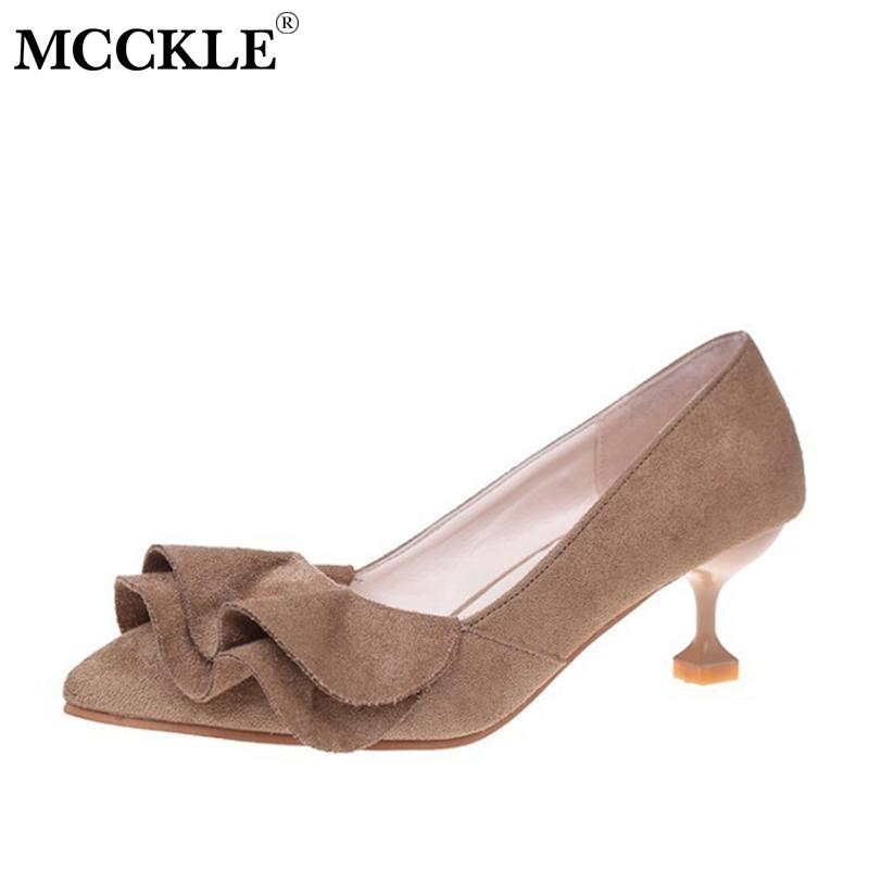 d4e6aa88b00 Designer Dress Shoes Mcckle Ruffle Women Kitten Heel Sweet Slip On Pumps  Fashion Thin Heels Slip On Pointed Toe Ladies Casual Spring Nude Shoes  Womens ...