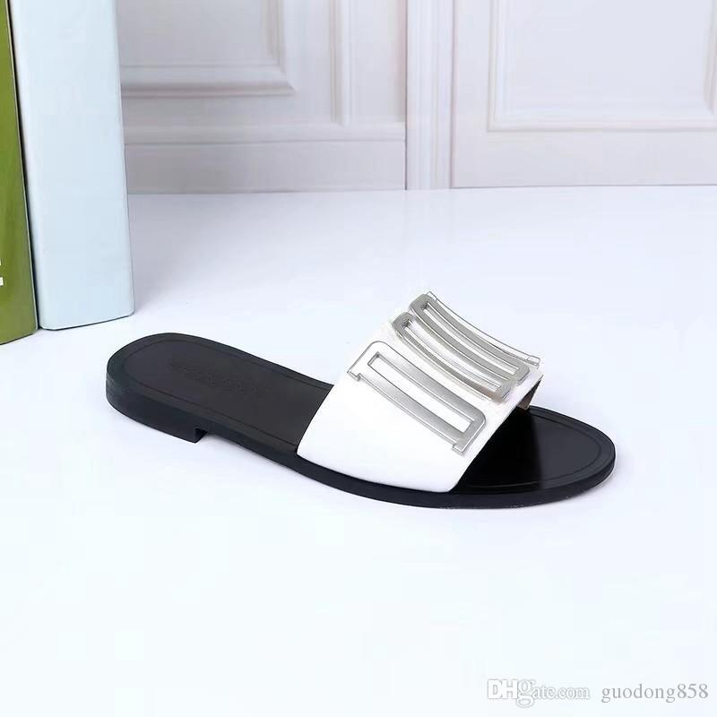f982df5a new arrival womens evolution Leather Mule Slide Sandals girls fashion  street flat slippers size euro 35-40