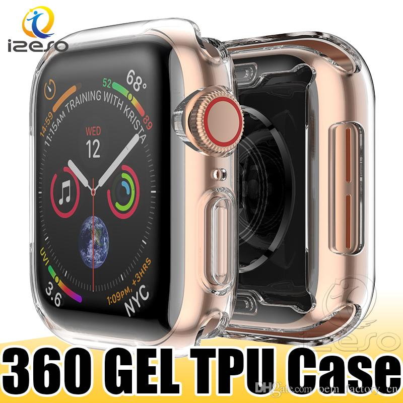 Luxury Clear TPU Watch Case for Apple Watch Series 5 4 3 2 Gel Soft Front Screen Full Covered Watch Cover for iWatch