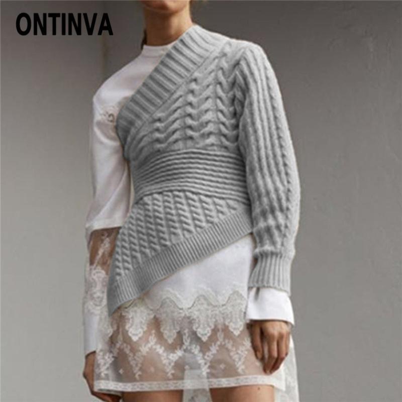 Compre Suéter Gris 2019 Primavera Mujer Delgada Moda Un Hombro Pullover  Prendas De Punto De Punto De Oficina Señora Twist Casual Mujer Jerséis Tops  A  14.06 ... f2970434a584