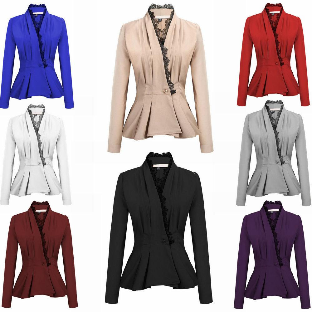 2019 Fashion Slim Womens Blazer Coat Casual Lace V Neck Blazer Tops  Business Office Ladies Tops 2019 Spring Autumn Suit From Top youshanping 407f1bf83