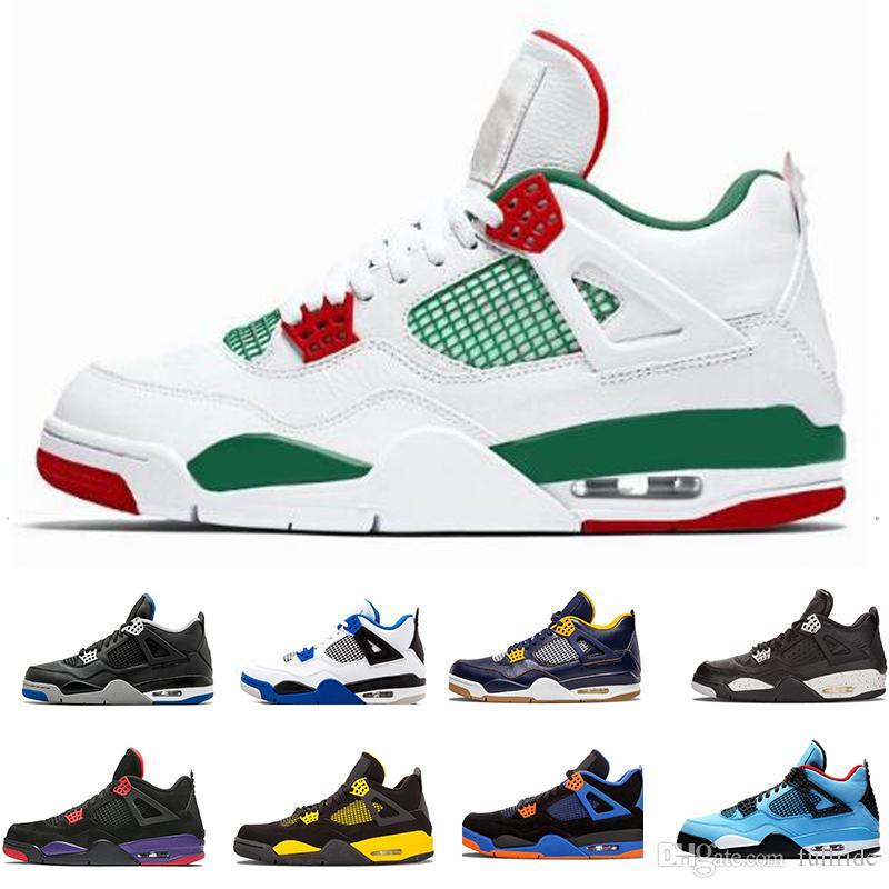 sneakers for cheap c7c39 341dd Compre Nike Jordan Air Max 2019 Barato Top Retro 4 Hombres Zapatillas De Baloncesto  Zapatillas De Deporte Negro Verde Cemento Puro Dinero Realizado Juego ...