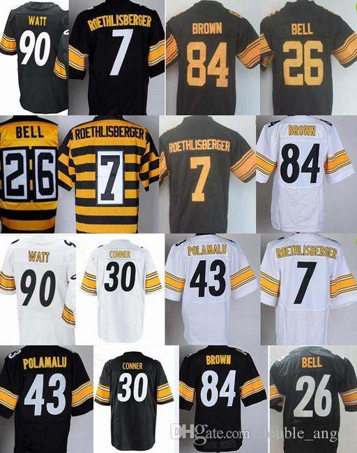check out ae4f1 e923b Pittsburgh Mens Steeler 30 James Conner Jersey T. J. Watt 26 LeVeon Bell  Jersey 7 Ben Roethlisberger 84 Antonio Brown Jersey