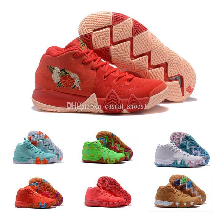 promo code 58a53 69850 2019 Irving 4 IV Shoes Sneakers Men White Kyrie Halloween Dotd Pe Day Of  The Dead CTC Confetti Carpet Zapatillas Shoes size 40-46