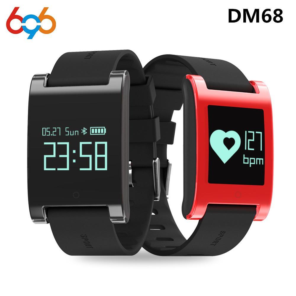 8df83c19196c 696 DM68 smartband Touch Key Pulsera inteligente pulsera impermeable  rastreador de presión arterial Presión arterial monitor de ritmo cardíaco  ...