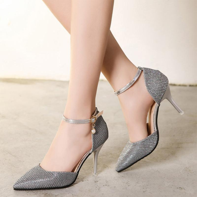 f3f31a619e4b Dress Spring Summer Women Wedding Shoes Buckle Strap High Heels Shoes  Silver Gold Pumps Woman Sandals Dress Shoes Zapatos Mujer 6301 Red Shoes  Mens Slippers ...
