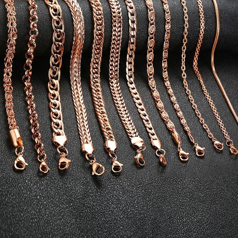 431cc02826953 Trendy 585 Rose Gold Curb Snail Foxtail Link Chains Necklaces for Women Men  Choker collar Gifts Jewelry