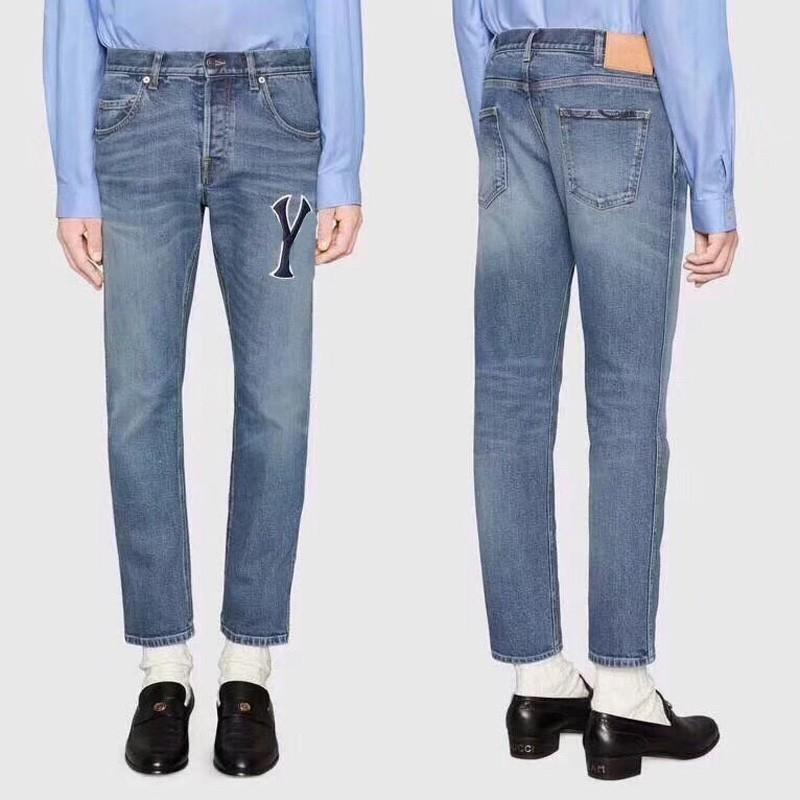 18SS NY Italien Männer Frauen Fuß Zerrissene Jeans Mode Vintage Gerade Motorrad Biker Denim Hosen Kausale Streetwear Outdoor Jeans HFYMKZ130