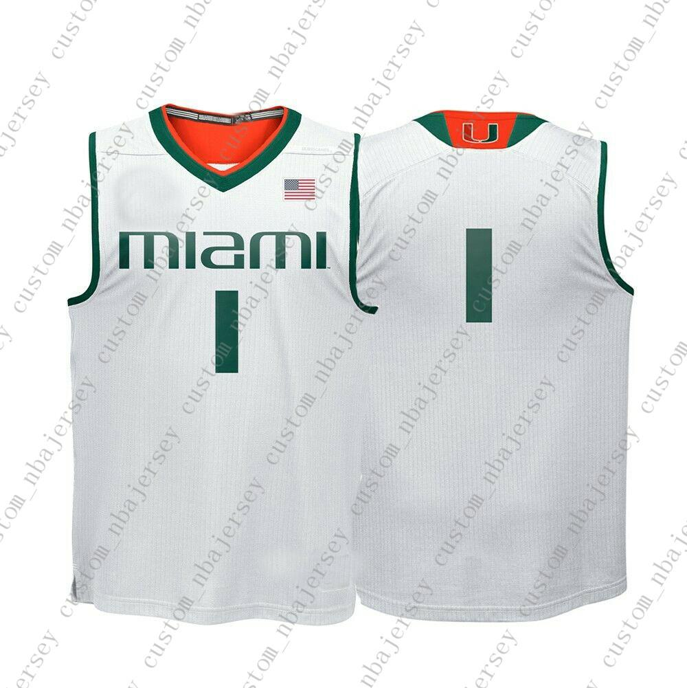 reputable site 2ba3e 0fe46 Cheap Custom Hurricanes NCAA #1 White Basketball Jersey Personality  stitching custom any name number XS-5XL