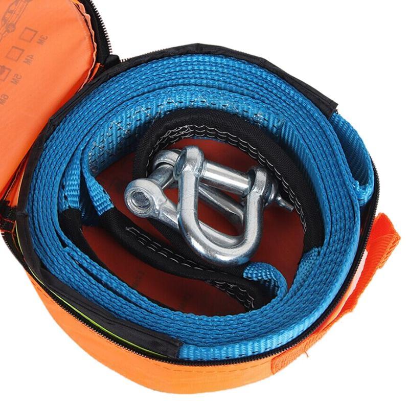 5 M 8 Toneladas Corda de Reboque Strape Cabo Com Ganchos de U Manilha de Nylon De Alta Resistência Com Luz Reflexiva Para Reboque Do Caminhão Do Carro SUV