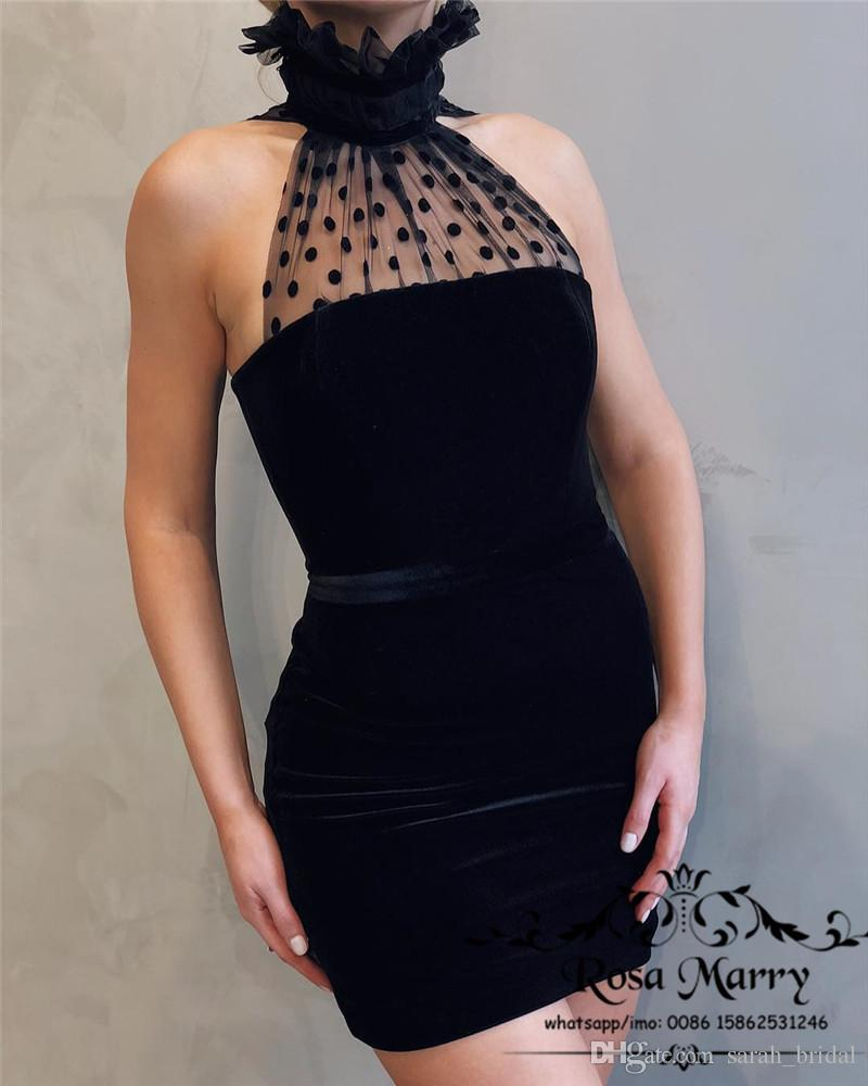 06c3b336542a5 Sexy Black Velvet Short Cocktail Party Dresses 2019 Sheath High Neck Plus  Size Cheap Simple Mini Length Formal Celebrity Evening Party Gowns