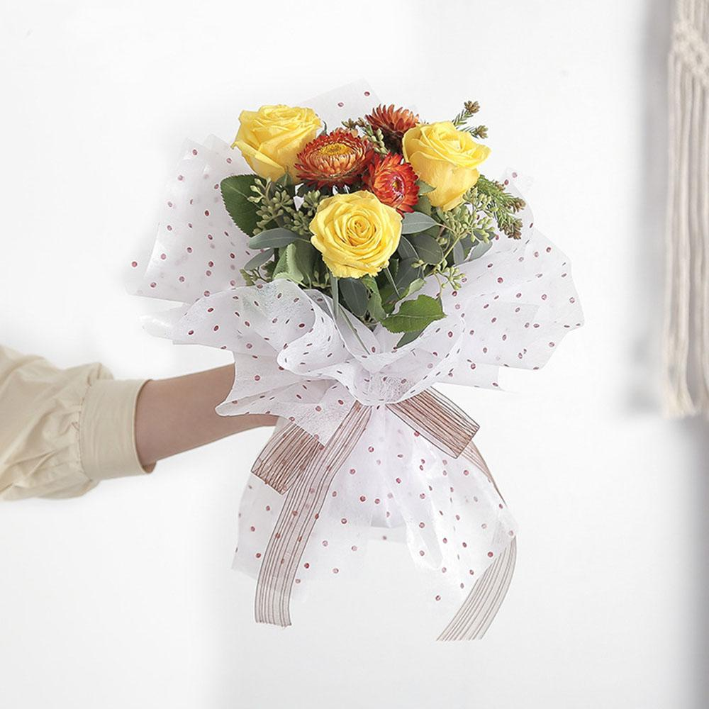 Flower Wrapping Paper Waterproof Dot Wedding Decoration Paper Non Woven Florist Bouquet Supplies Inside Lining Paper 150 Sheets