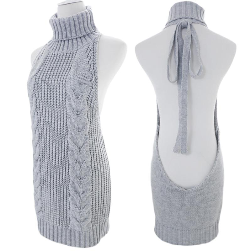 e1214792911f5 2019 Women Sleeveless Knitted Sweater Lace Up Backless Virgin Killer Sweater  Long Vest Turtleneck Tank Girls Sexy Pullover Cos Top From Cailey