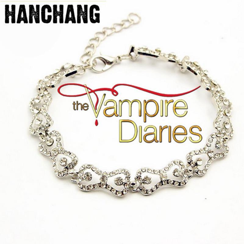 Women Charm Bracelet The Vampire Diaries Klaus Caroline Forbes Rhinestone Crystal Bow Shine Bangle&Bracelet Fashion Jewelry