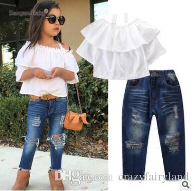 fdc924a870e 2019 Kids Designer Clothes Girls Clothing Sets 2019 Summer Fashion Baby  Girls Ruffle Off Shoulder Blouse Tops+Ripped Jeans Pants Outfits From  Crazyfairyland ...