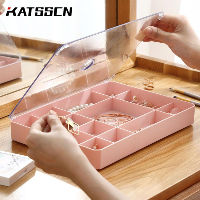 19 Slots Jewelry Storage Box Simple Rectangle Plastic Ring/Studs/Watch/necklace/Jewelry Organizer Boxes With Transparent Lid 179