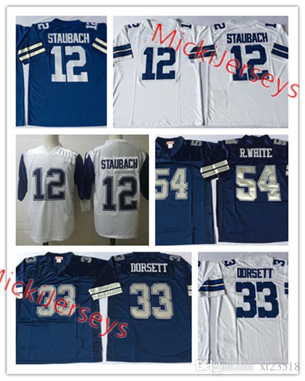 watch 358be 3a7cb Mens NCAA #12 Roger Staubach Vintage Football Jersey Stitched #33 Tony  Dorsett #54 Randy White Jersey S-3XL